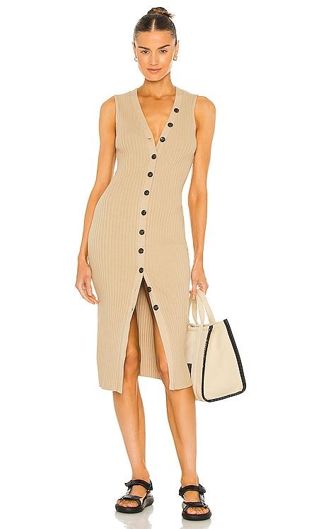 Rib Sweater Knit Sleeveless Cardigan Dress Enza Costa $275 NEW
