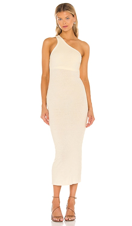 Recycled Rib One Shoulder Maxi Dress Enza Costa $198 NEW