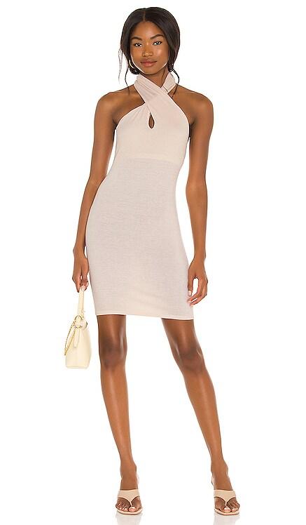X REVOLVE Silk Rib Twist Halter Mini Dress Enza Costa $224 NEW