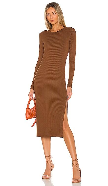 Rib Crewneck Button Midi Dress Enza Costa $295 NEW