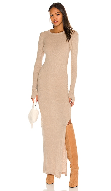 Slit Long Sleeve Crew Maxi Dress Enza Costa $335 NEW