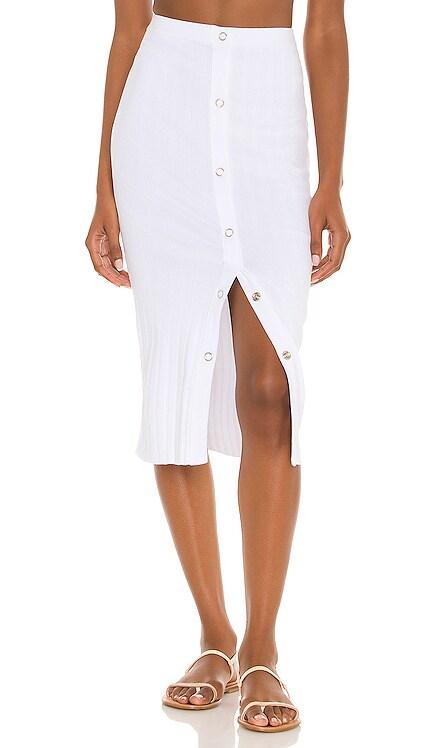 Rib Snap Midi Skirt Enza Costa $185 NEW
