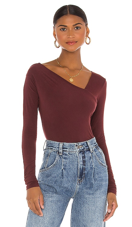 X REVOLVE Brushed Supima Cotton Asymmetrical Neck Long Sleeve Top Enza Costa $96