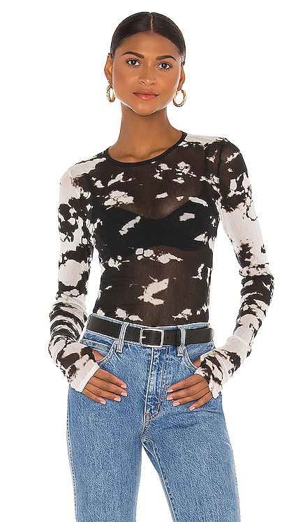 Cotton Mesh Long Sleeve Crew Top Enza Costa $174