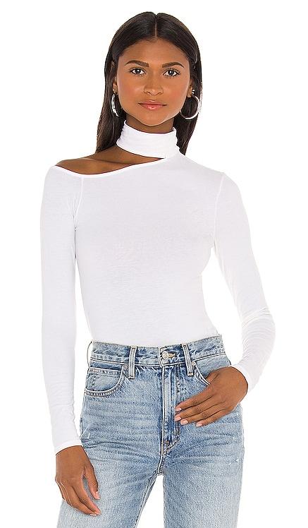 Brushed Supima Cotton Detatched Mockneck Angled Long Sleeve Top Enza Costa $136 BEST SELLER