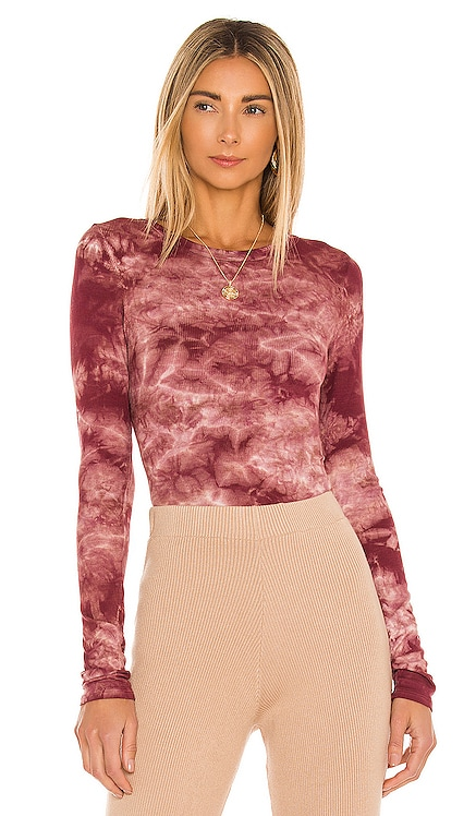 Silk Rib Fitted Long Sleeve Crew Top Enza Costa $165 BEST SELLER