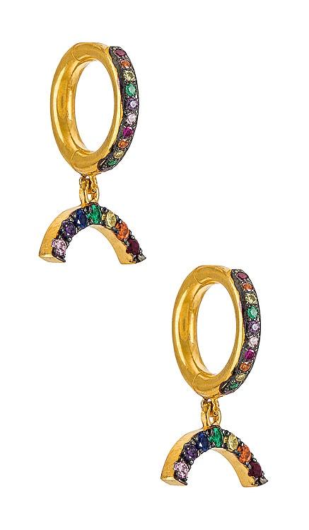 Rainbow Charm Midi Hoops Eye M by Ileana Makri $220 NEW