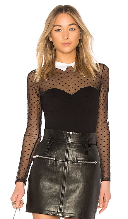Collared Bodysuit With Dotted Tulle fleur du mal $325 BEST SELLER