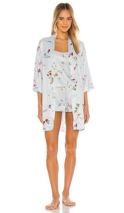 Penelope Printed Matte Charmeuse Wrap Robe Flora Nikrooz $58 NEW ARRIVAL