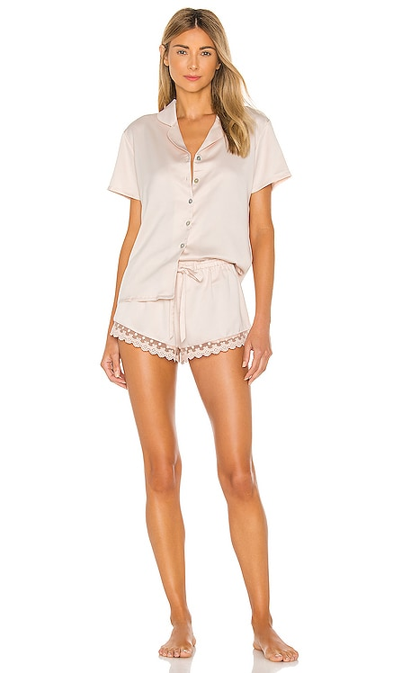 Victoria Solid Charmeuse Notch Short Set Flora Nikrooz $68 BEST SELLER