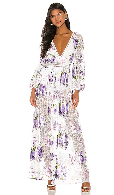 Wildflower Foil Lace Maxi Dress For Love & Lemons $290