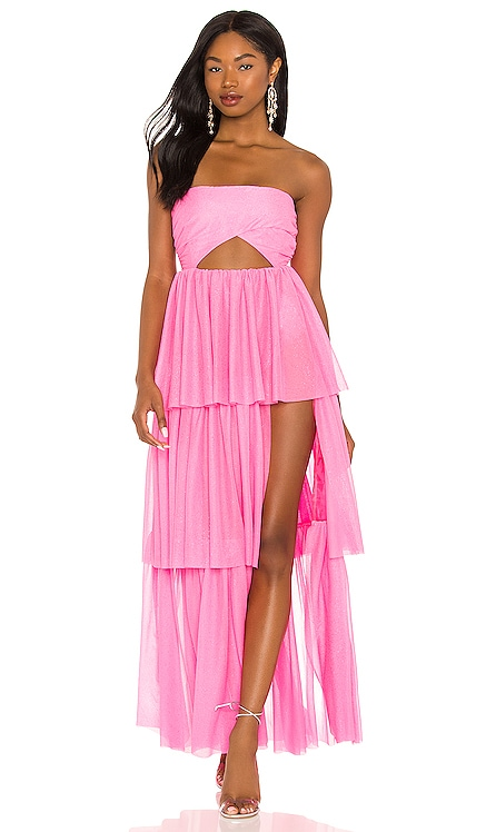 X REVOLVE Strapless Tiered Ruffle Gown For Love & Lemons $330 NEW