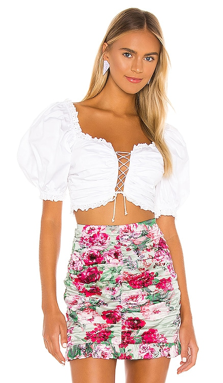 Sage Lace Up Crop Top For Love & Lemons $143