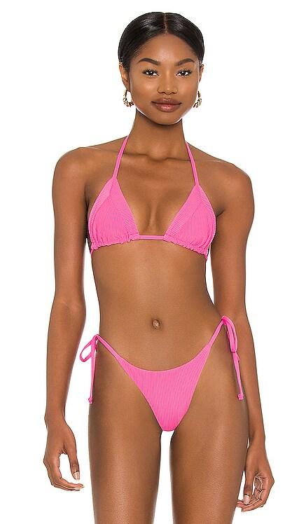 Sky Ribbed Bikini Top Frankies Bikinis $85 NEW