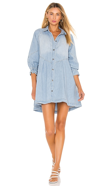 Hannah Mini Denim Dress Free People $128 NEW