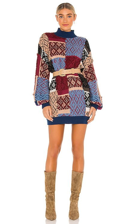 Patched Argyle Dress Free People $228 NEW