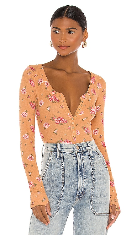 Dylan Thermal Printed Bodysuit Free People $68 NEW