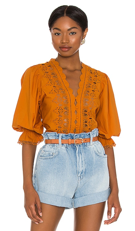 Louella Embroidered Top Free People $78 NEW
