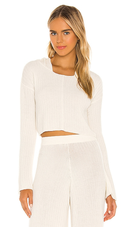 x REVOLVE Rib Knit Hoodie Flook The Label $65