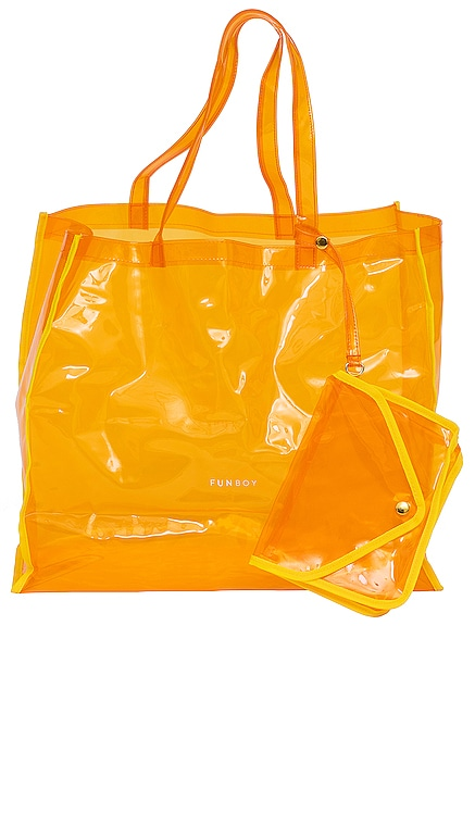 Clear Orange Beach Tote FUNBOY $49 NEW
