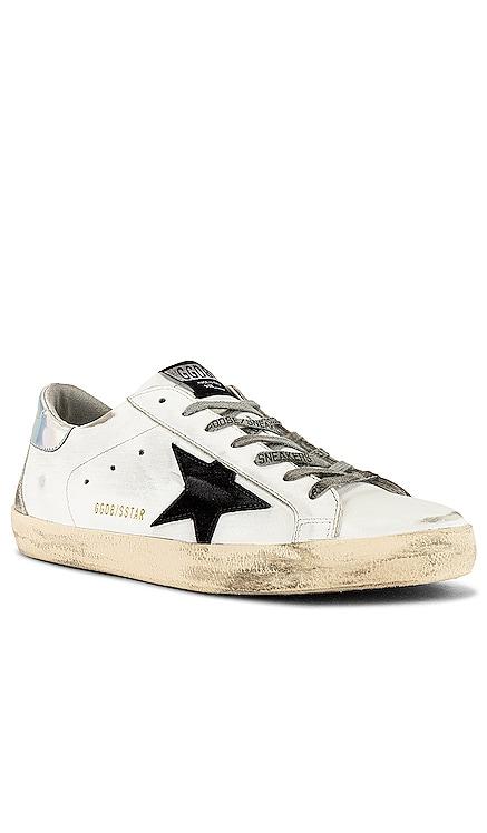Superstar Leather Upper Suede Star & Spur Mirror Heel Sneaker Golden Goose $495 NEW