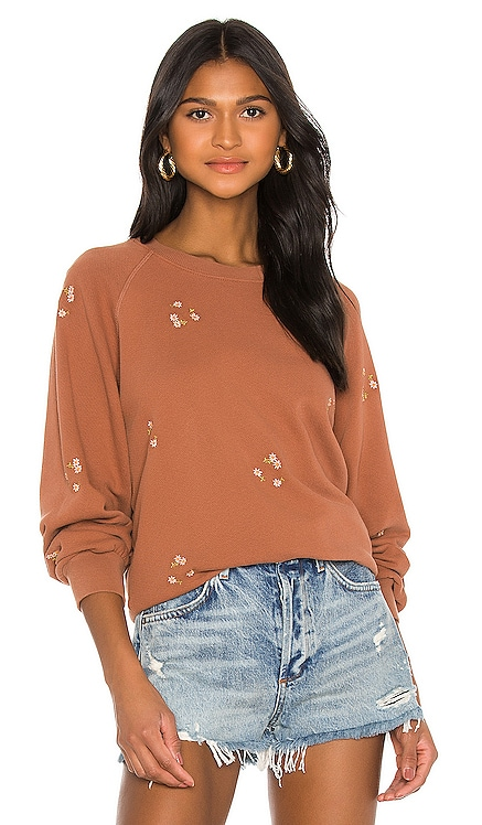 Bubble Daisy Bouquet Embroidery Sweatshirt The Great $215 NEW