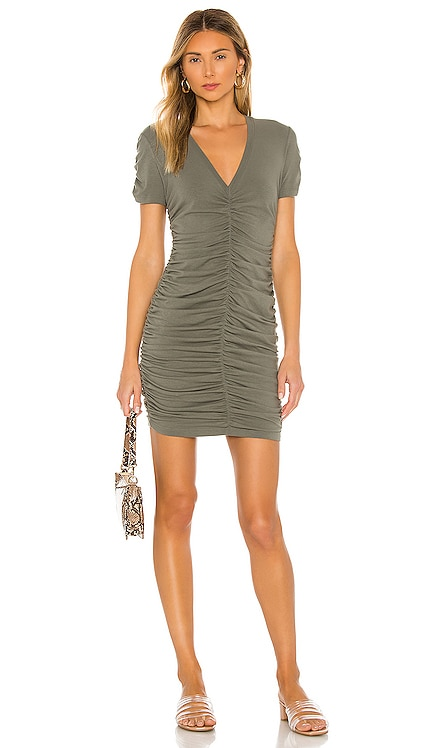 Shirred V Dress MONROW $105