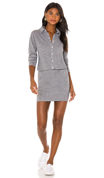 Granite Shirt Dress With Side Shirring MONROW $180 NEW