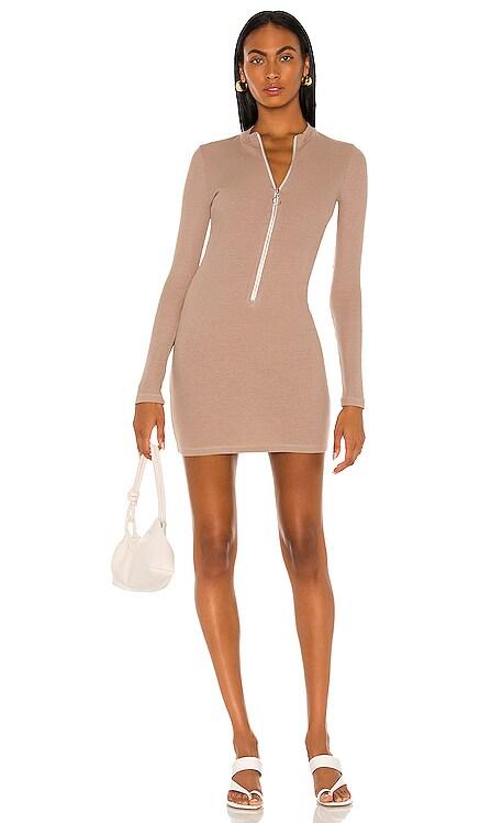 Rib Zip Up Dress MONROW $167 NEW