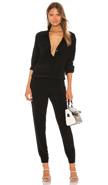 Crepe Long Sleeve Jumpsuit MONROW $187 NEW ARRIVAL