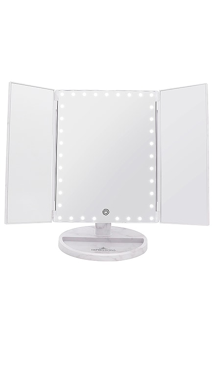 Touch Trifold XL Dimmable LED Makeup Mirror Impressions Vanity $89 NOUVEAU