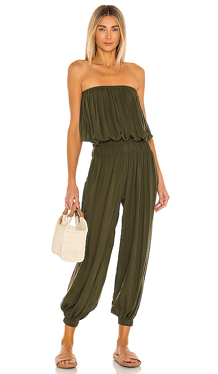 Seychelle Solid Strapless Pleated Jumpsuit Indah $172