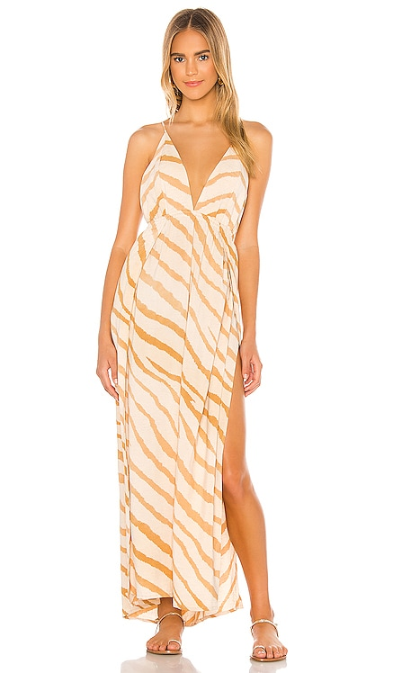 River Triangle Plunge Wrap Skirt Maxi Dress Indah $185 BEST SELLER