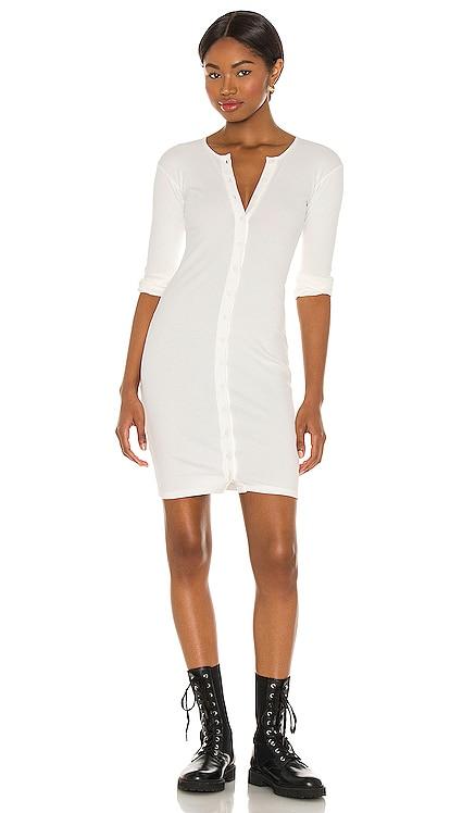 Lenny Solid Henley Button Front Mini Dress Indah $97