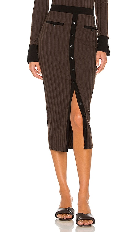 Izzie Compact Rib Button Down Midi Skirt JONATHAN SIMKHAI STANDARD $165 NEW