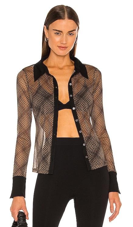 Tia Shimmer Tulle Long Sleeve Button Down JONATHAN SIMKHAI STANDARD $195 BEST SELLER