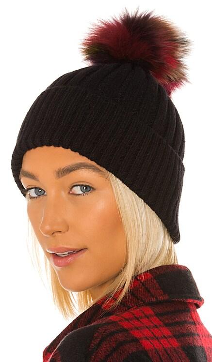 Multi Fox Fur Pom Knit Hat jocelyn $37 (FINAL SALE)