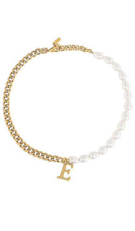 Pearl + Chain Initial Necklace joolz by Martha Calvo $235