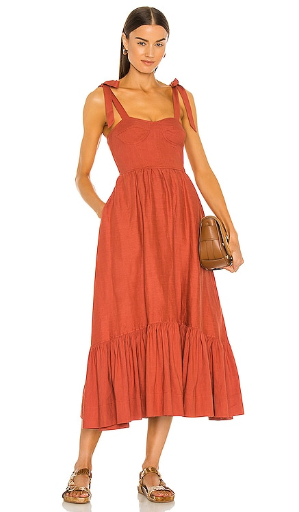 Georgia Linen Bustier Dress JONATHAN SIMKHAI $495 NEW