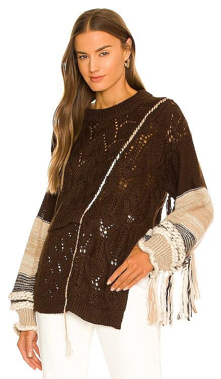 Amalia Patchwork Fringe Pullover JONATHAN SIMKHAI $595 NEW