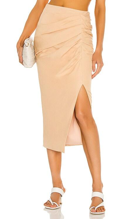 Hayden Draped Linen Slit Midi Skirt JONATHAN SIMKHAI $395 NEW
