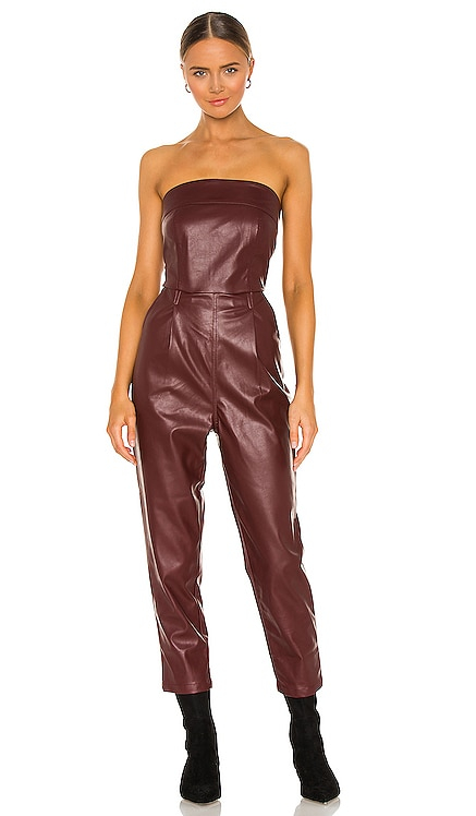 Vegan Leather Strapless Jumpsuit KENDALL + KYLIE $132