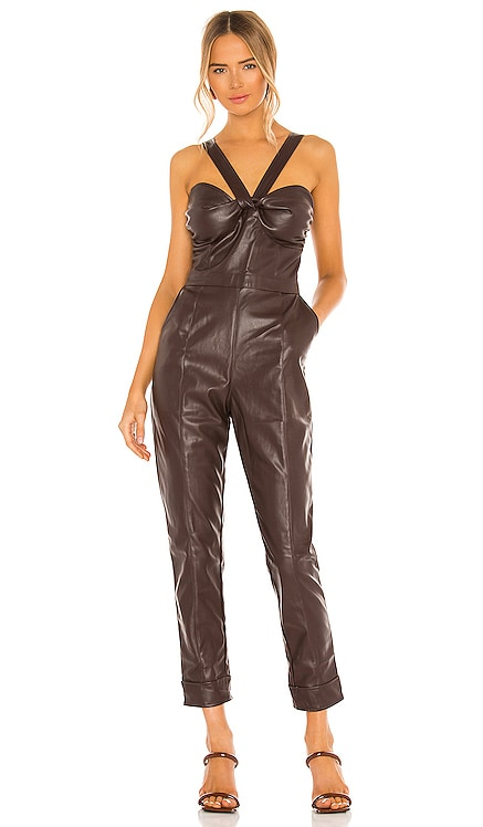 Vegan Leather Bustier Jumpsuit KENDALL + KYLIE $113