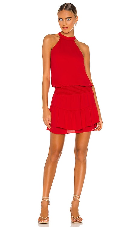 Smocked Waist Halter Mini Dress krisa $187 NEW