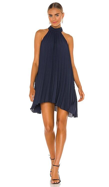 Smocked Neck Pleated Mini Dress krisa $198 NEW