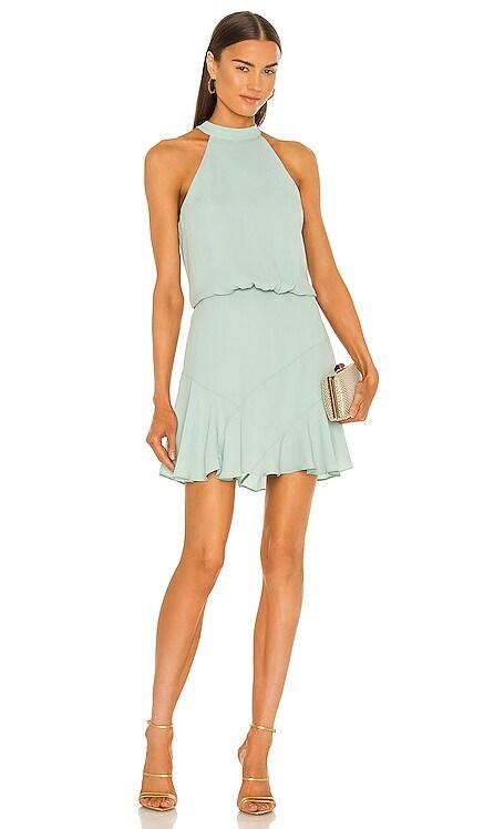 Asymmetrical Flare Halter Mini Dress krisa $198