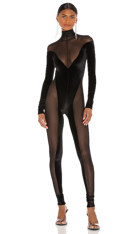 Sheer And Velvet Catsuit LaQuan Smith $700