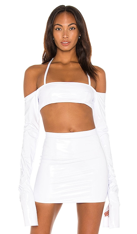 X REVOLVE Off The Shoulder Crop Top LaQuan Smith $108