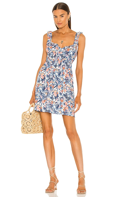 Sunday Tropical Mini Dress Line & Dot $132