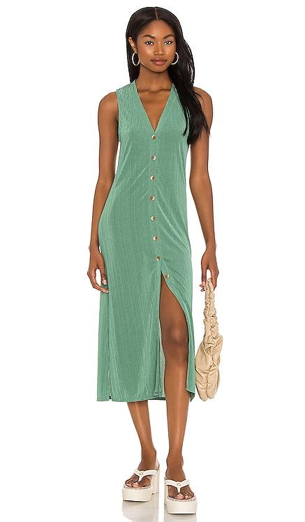 Billie Ribbed Knit Midi Dress Line & Dot $81 NEW
